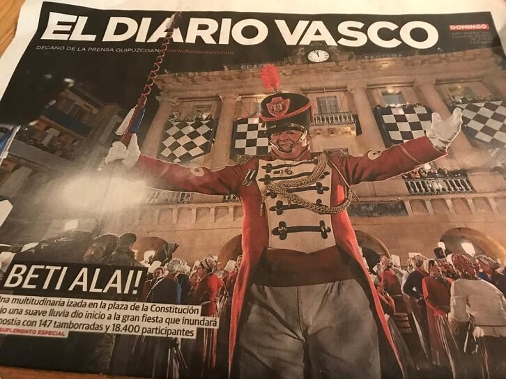 Front page of Sunday's newspaper featuring the 2019 Tomborrada in San Sebastian